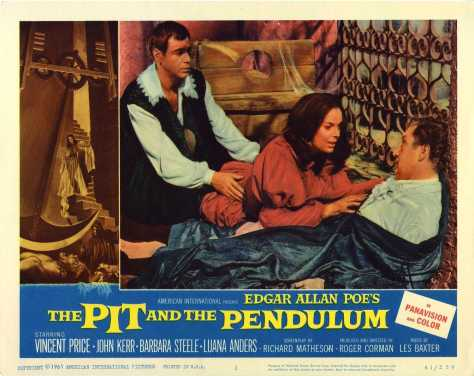 Pit and Pendulum lobby card. Barabara Steele, Vincent Price