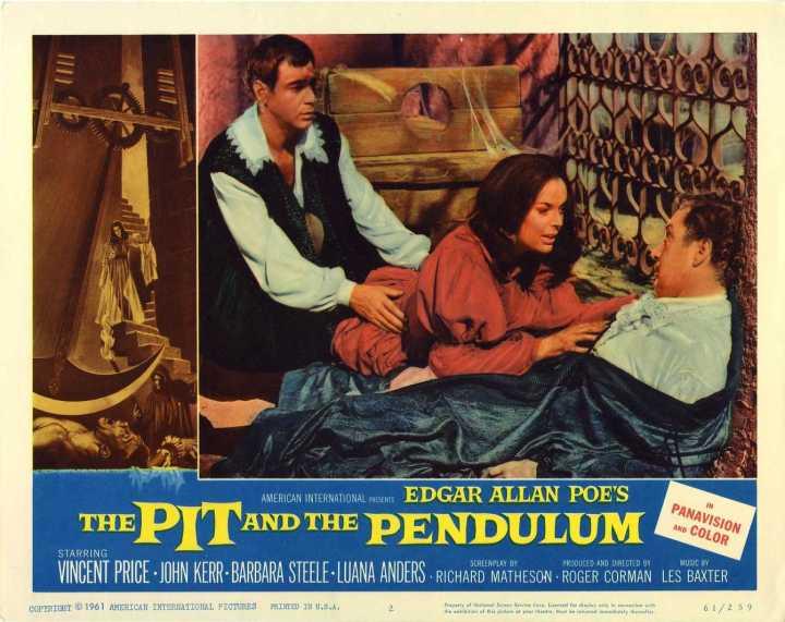 Pit and Pendulum lobby card. Barabara Steele, Vincent Price