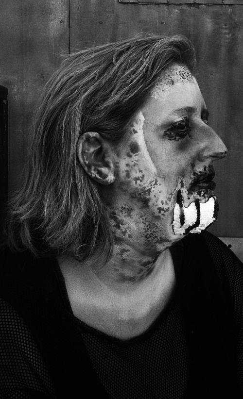requiem  for the relentless fathers. Jen Ring being made-up as the evil spirit. © alfred eaker 2012