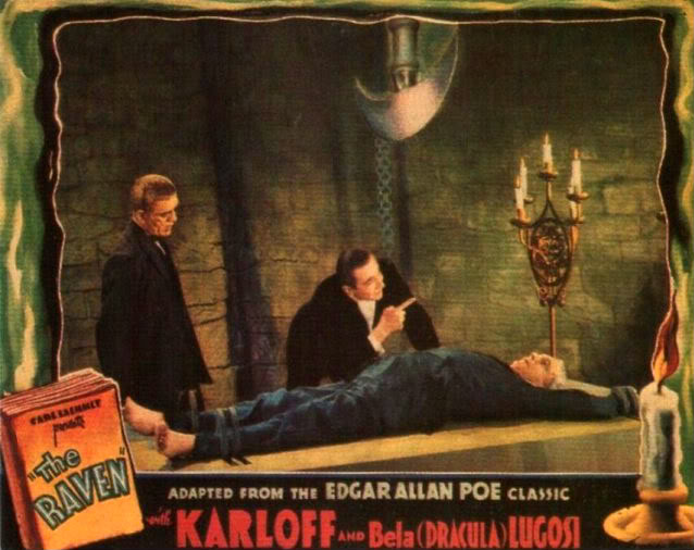 THE RAVEN (1935) BORIS KARLOFF, BELA LUGOSI lobby card