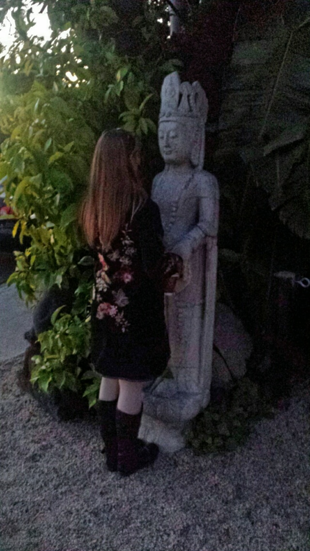 AJA ROSSMAN GRAY WITH BUDDHA