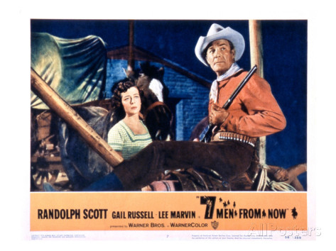 Seven Men From Now lobby card. Randolph Scott Gail Russell