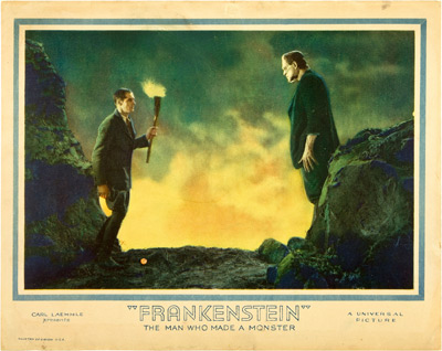 Frankenstein 1931 lobby card. Colin Clive, Boris Karloff