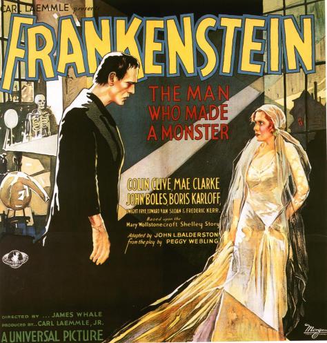 Frankenstein 1931 poster Mae Clark and Boris Karloff
