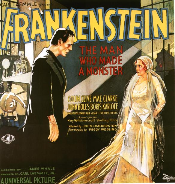 Frankenstein 1931 poster Mae Clark and Boris Karloff