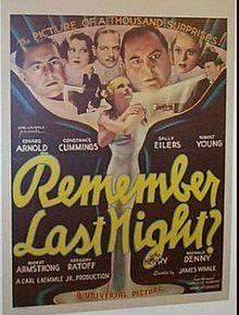 REMEMBER LAST NIGHT (1935 DIR. JAMES WHALE)