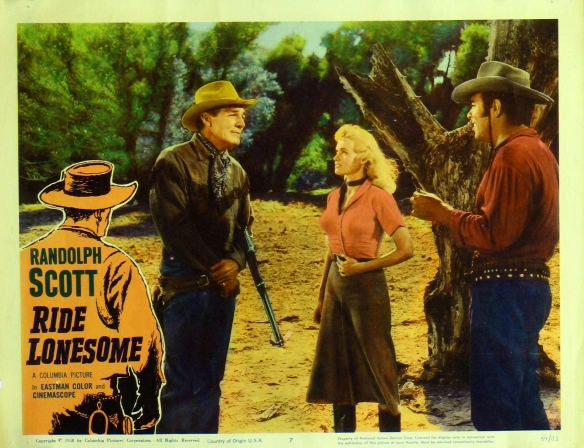 Ride Lonesome lobby card Budd Boetticher Randolph Scott Karen Steele