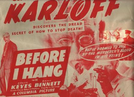 Before I Hang poster (Boris Karloff).