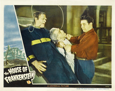 House of Frankenstein Lobbycard . Glenn Strange, Boris Karloff, Lon Chaney, Jr.