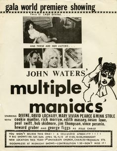 Multiple Maniacs (1970) publicity ad