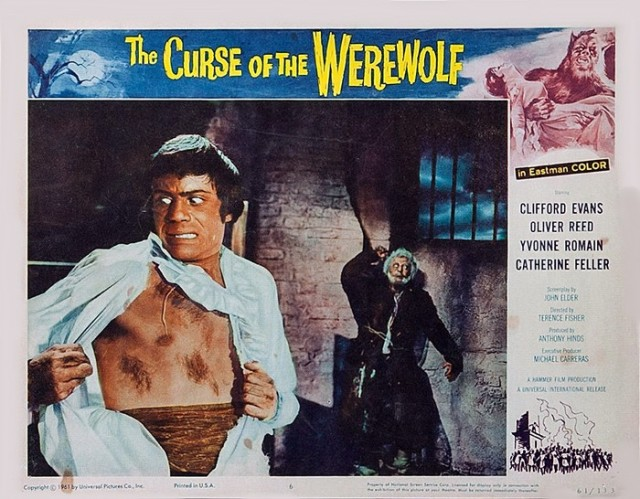 THE CURSE OF THE WEREWOLF (1961) lobby card. Oliver Reed
