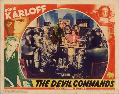 The Devil Commands lobby card (Boris Karloff).