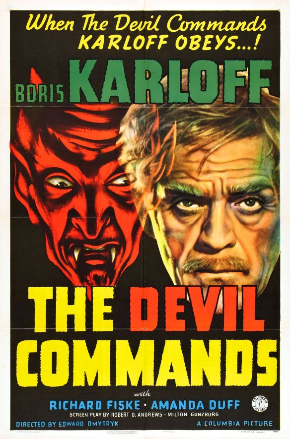 THE DEVIL COMMANDS poster (Boris Karloff)