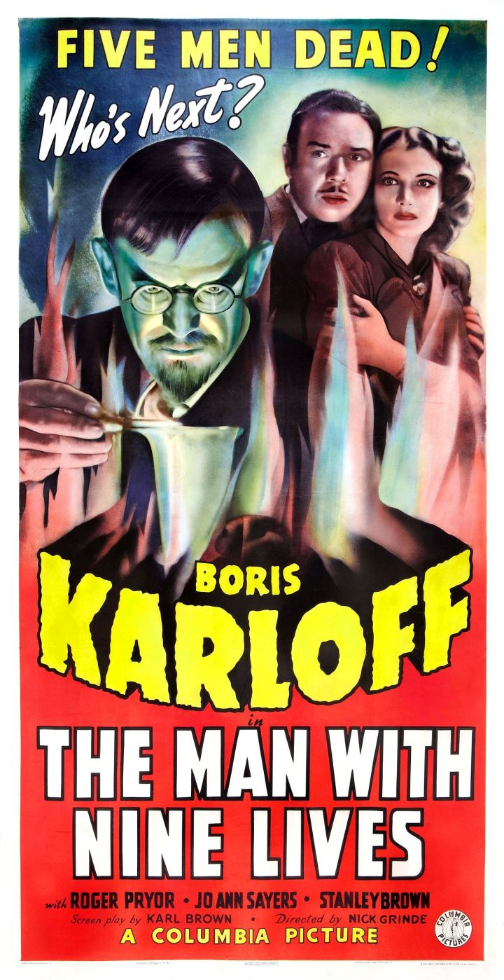 The Man With Nine Lives 1940 poster (Boris Karloff)