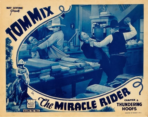 THE MIRACLE RIDER (1935) starring Tom Mix. lobby card