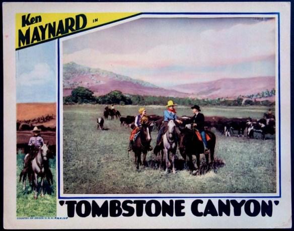 TOMBSTONE CANYON (1932) lobby card. Ken Maynard