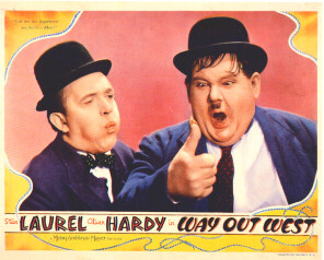 WAY OUT WEST lobby card Laurel and Hardy
