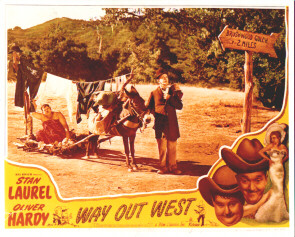 Way Out West lobby card with Stan Laurel and Oliver Hardy