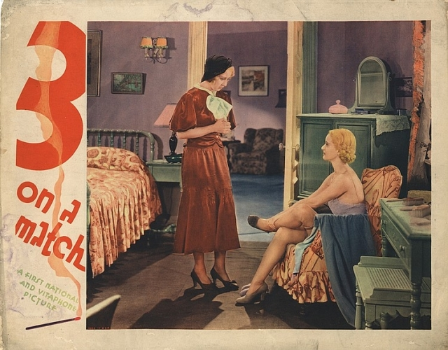 3 On A Match Joan Blondell, Bette Davis lobby card