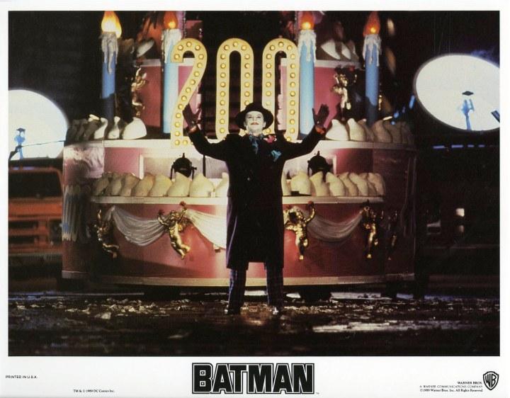 BATMAN (1989 Dir. Tim Burton) lobby card. Jack Nicholson as the Joker