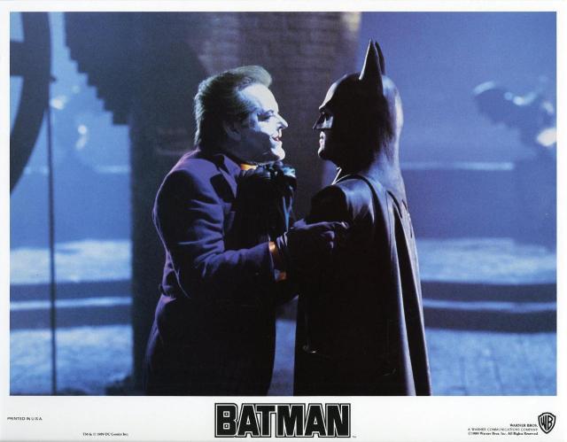 BATMAN (1989 dir. Tim Burton) lobby card. Jack Nicholson, Michael Keaton