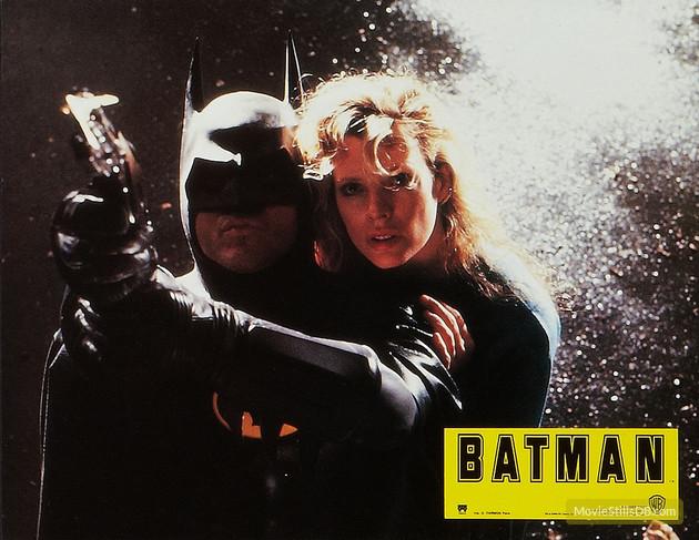 BATMAN (1989 dir. Tim Burton) lobby card. Michael Keaton,Kim Basinger