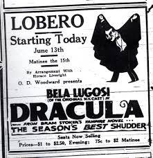 BELA LUGOSI DRACULA on stage news advertisement