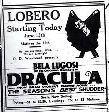 BELA LUGOSI DRACULA on stage news advertisement