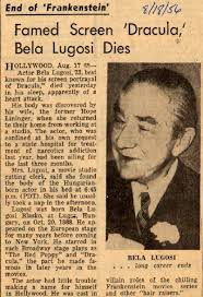 BELA LUGOSI OBITUARY
