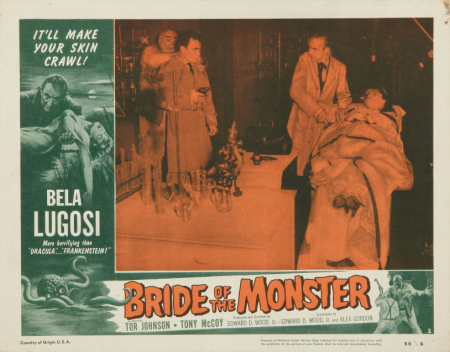 Bride Of The Monster (1955) lobby card. Bela Lugosi, Tor Johnson.