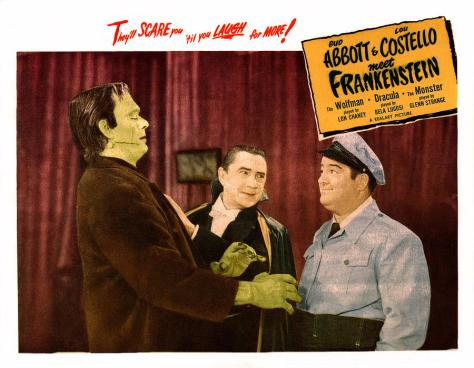 Bud Abbott & Lou Costello Meet Frankenstein (1948) Glenn Strange, Bela Lugosi, and Lou Costello lobby card.