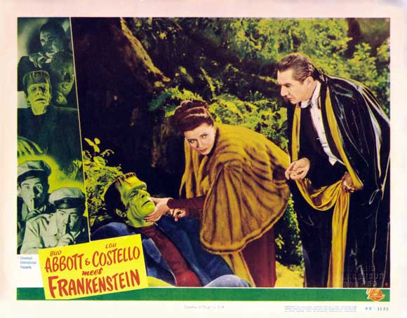 Bud Abbott & Lou Costello Meet Frankenstein (1948) Glenn Strange, Lenore Aubert, and Bela Lugosi. lobby card