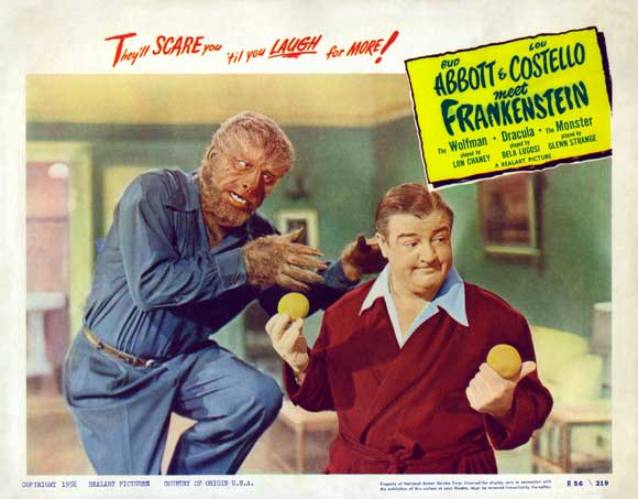 Bud Abbott & Lou Costello Meet Frankenstein (1948) Lon Chaney and Lou Costello. Lobby card