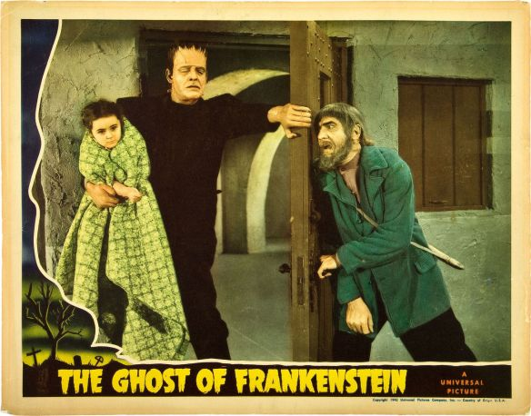 GHOST OF FRANKENSTEIN (1942) lobby card. Lon Chaney, Jr. Bela Lugosi