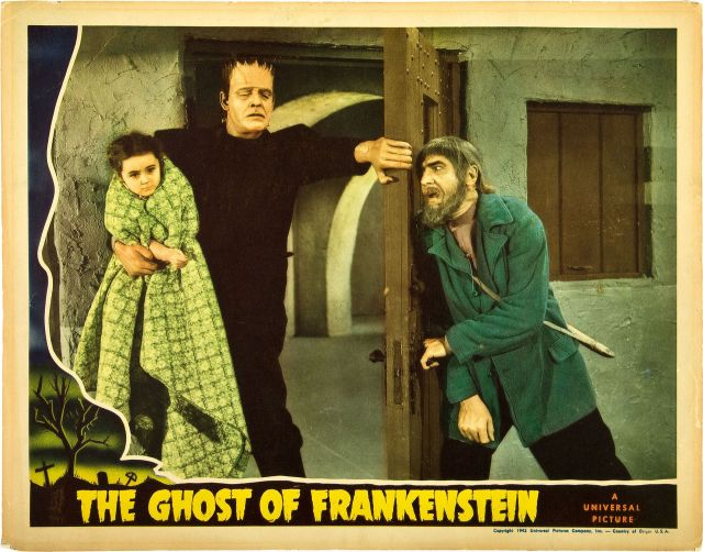 GHOST OF FRANKENSTEIN (1942) lobby card. Lon Chaney, Jr. Bela Lugosi