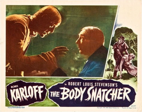 THE BODY SNATCHER (1945) lobby card. Karloff & Lugosi