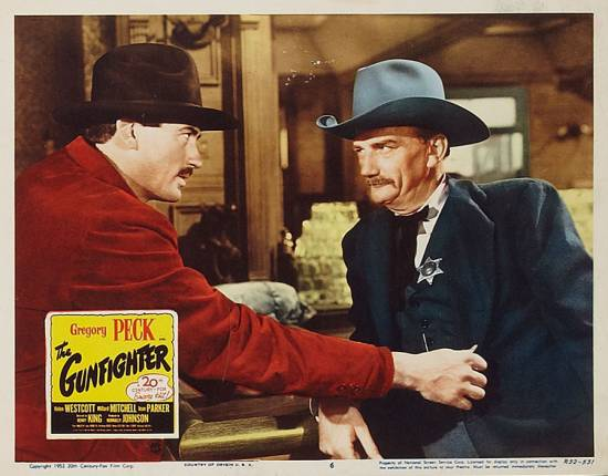 The Gunfighter (1950) lobby card.Gregory Peck