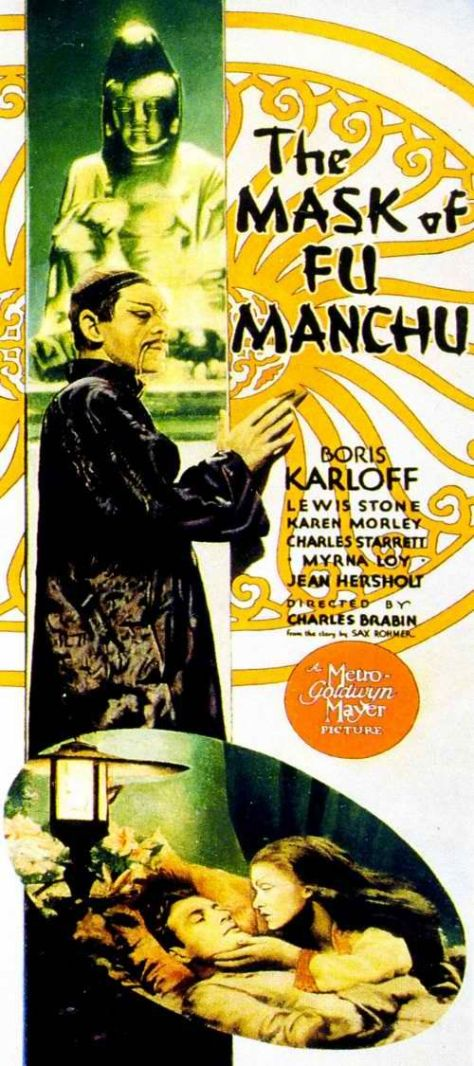 THE MASK OF FU MANCHU (1932) POSTER. Boris Karloff, Myrna Loy