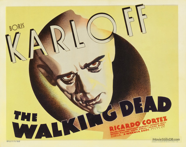 THE WALKING DEAD (1936 CURTIZ) BORIS KARLOFF. Lobby card