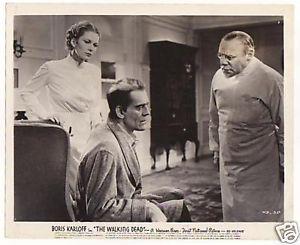 THE WALKING DEAD (1936 Curtiz) lobby card. Boris Karloff