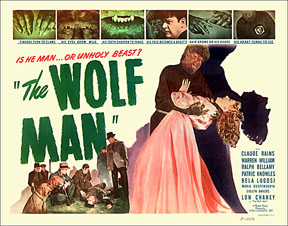 THE WOLFMAN 1941 lobby card. Lon Chaney, Jr. Evelyn Ankers