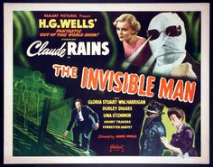 THE INVISIBLE MAN (1933 James Whale) lobby card. Glora Stuart, Claude Rains, Una O' Connor