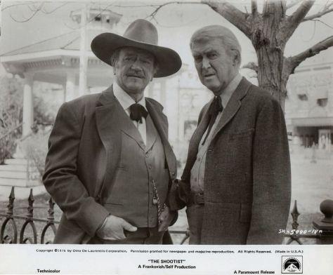 The Shootist (1976 Don Siegel) John Wayne, James Stewart. Lobby card