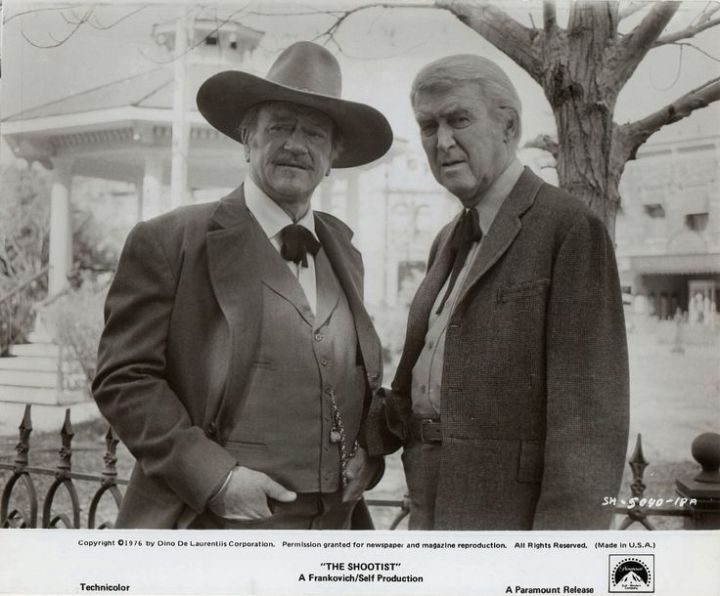 The Shootist (1976 Don Siegel) John Wayne, James Stewart. Lobby card