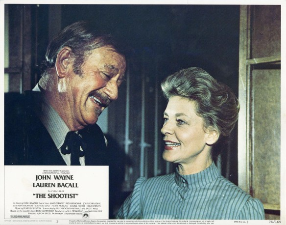 The Shootist (1976 Don Siegel) John Wayne, Lauren Bacall. Lobby card