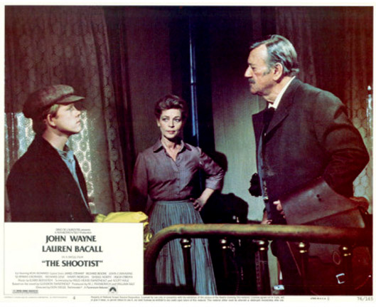The Shootist (1976 Don Siegel) Ron Howard, Lauren Bacall, John Wayne. Lobby card