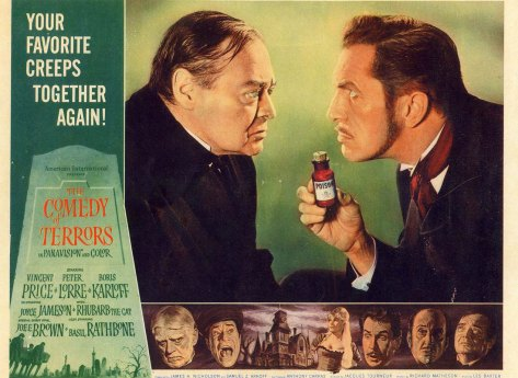 Comedy of Terrors lobby card. Peter Lorre, Vincent Price