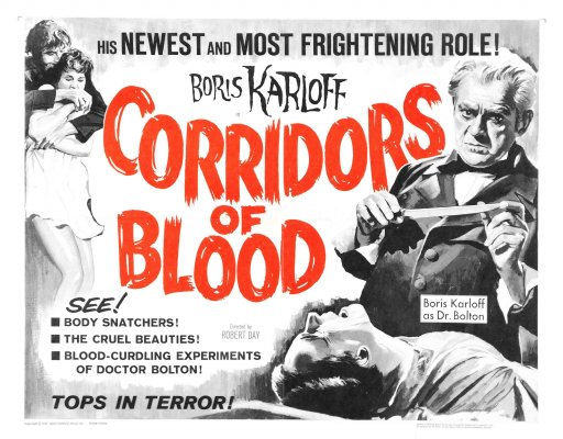 %22Corridors Of blood%22 theatrical poster Boris Karloff