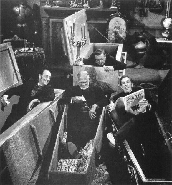 BASIL RATHBONE PETER LORRE BORIS KARLOFF & VINCENT PRICE ON THE SET OF COMEDY OF TERRORS