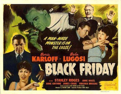 BLACK FRIDAY lobby card Karloff Lugosi